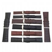 Leather Watch Straps 2 Piece Black and Brown Leather Band - 16mm to 30mm